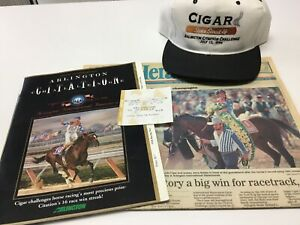 CIGAR - HORSE RACING PROGRAM $10 WINNING TICKET HAT AND NEWSPAPER