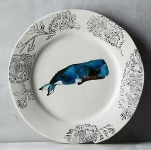 Anthropologie Linda Fahey Pacifica Stormy Seas Dessert Side Plate Nautical Whale