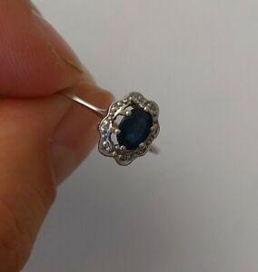 Weißgold ring 585 mit Saphir und Diamanten