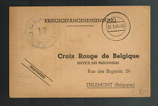 1941 Germany Prisoner of War POW Camp Postcard Cover Oflag 3B to Belgium Red Cro