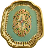 "Baret Ware Serving Tin Tray Vintage England 236 Leaves Gold Mint Pink 16"" X 13"""