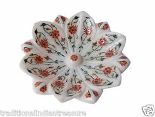 White Marble Fruit Bowl Real Carnelian Gem Marquetry Floral Kitchen Gifts Decor