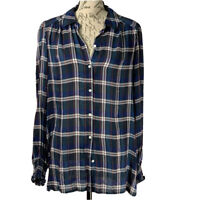 Max Studio Plaid Blouse NWT Women's Long Sleeve Button Up Top Size Large