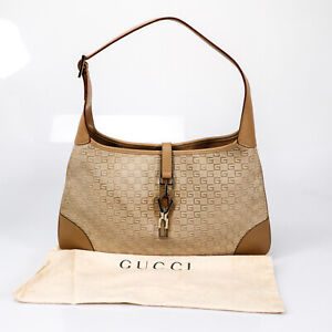 GUCCI 001 4057 002113 Hand Bag Beige Leather Canvas Used Authentic
