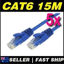 5 x 15m Blue Cat 6 Cat6 1000Mbps  RJ45 Ethernet Network LAN Patch Cable