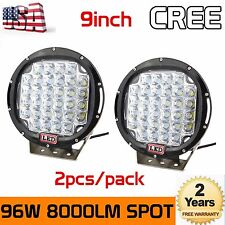 2pcs 96W 9Inch Cree Round Lamp Led Driving Spot Work Light 4WD 4X4 Offroad Black