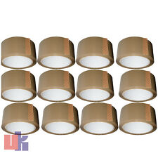 More details for 12,brown parcel packing strong tape 66m x48mm rolls packaging sellotape sealing.