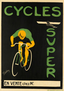 Cycles Super Vintage Bike Advertising Cycling Giclee Canvas Print 20x28
