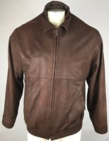 Brooks Brothers Vintage Mens Brown Leather Bomber Fighter Jacket Size 40