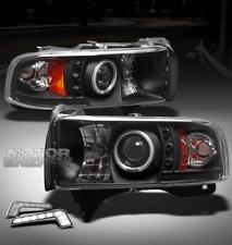 94-01 DODGE RAM LED CCFL HALO BLACK PROJECTOR HEAD LIGHT LAMP+DRL 1500 2500 3500