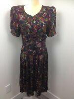 Women's Vintage PELLINI Floral Short Sleeved Gathered Belted Shift Dress Sz 10