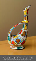MID CENTURY MODERN ITALIAN BIOMORPHIC PAINTED VASE! POTTERY 50S ABSTRACT ART VTG