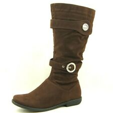 Women's Flat Knee High Suede Boots, Coffee 6.5US/37EU
