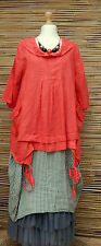 """LAGENLOOK LINEN QUIRKY BOHO ART TUNIC *SALMON ROSES*BUST UP TO 46""""OSFA ITALY"""