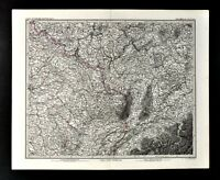 1876 Vogel Map France Germany Switzerland Kolmar Zurich Basel Dijon Paris Alps