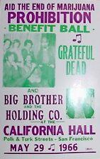 "End of Marijuana Prohibition Benefit Concert Poster 1966 - Grateful Dead 14""x22"""