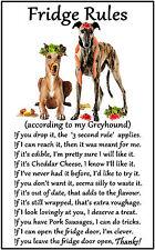 """Greyhound Dog Gift - Large Fridge Rules flexible Magnet 6"""" x 4"""""""
