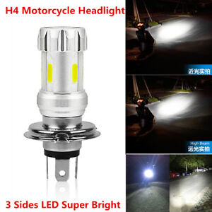 1x H4 36W 3 Sides LED COB 6000K White Motorcycle Headlight Head Lamp Front Bulb