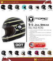 TORC T1 Retro Full Face Fiberglass Motorcycle Helmet Gloss Black Jail Break DOT