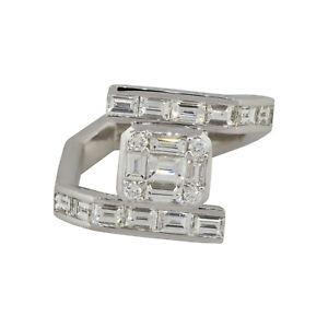 18k White Gold 1.88ctw Diamond Linear Overpass Ring