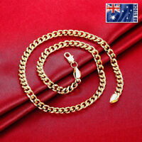 New Stunning 18K Gold Plated Solid 7MM Classic Curb Chain Necklace 20""