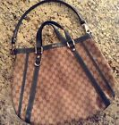 Authentic Gucci beige green canvas GG convertible Abbey tote hobo bag purse