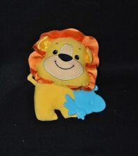 Peluche doudou lion FISHER PRICE 2009 jaune grelot oiseau dentition 17 cm NEUF