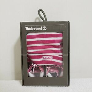 TIMBERLAND BABY INFANT GIFT SET HAT SHOE PINK KIDS TB09680R CRIB BOOTIE SIZE 3
