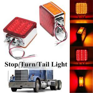 Pair 39LED Amber/Red Double Face Stud Mount Pedestal Fender Stop Turn Tail Light