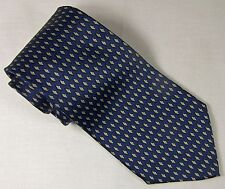 Roundtree & Yorke Men's Tie 100% Silk Made in USA Handsome Necktie Blue & Gold