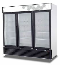 Migali C-72RM UPRIGHT REACH IN THREE (3) HINGED GLASS DOOR COOLER - WARRANTY
