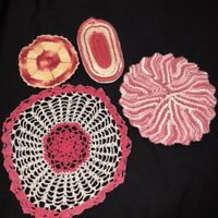 Vintage Mid Century Hand Crocheted Doilies Lot of 4 Hot Pink Doilies + Hot Pads