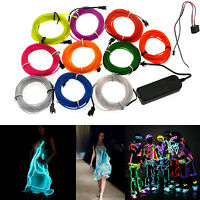 1m 3m 5m Led EL Wire Rope Flexible Neon Glow Car Party Light+3V/12V Controller