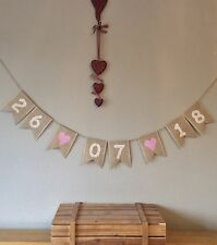 ❤️ Wedding Save The Date Wedding Date Bunting Banner Hessian
