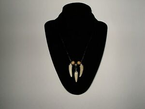 hand crafted artisan antler horn bone leather tribal mountain jewelry necklace
