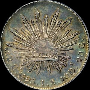 """AN UBER-MIRRORED PCGS MS63 1895 GAJS 8 REALE MEXICO """"TOP POP"""" TONED CAP & RAY"""