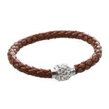 Bracelet tresse en cuir de boule de cristal/cadeau pour homme et femme marr D7X9