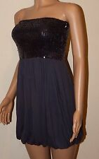 VICKY MARTIN black charcoal grey sequin strapless mini puffball dress BNWT 8 10