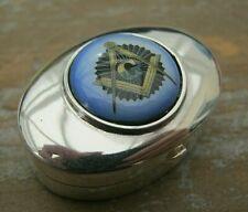 English Hallmarked Sterling Silver & Enamel Masonic Freemasons Box - Vinaigrette
