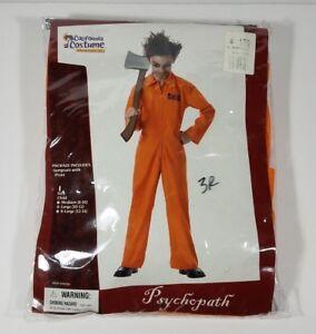 NIP Psychopath costume orange jumpsuit psycho patient Halloween boys Large 10/12
