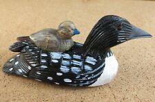 New listing Mini Common Loon Duck & Baby Duckling Figurine Decoy Log Cabin Decor #11