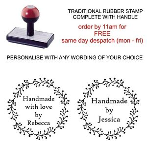 PERSONALISED HANDMADE BY RUBBER STAMP BESPOKE WITH YOUR NAME AND WREATH IMAGE