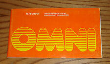 Original 1978 Dodge Omni Owners Operators Manual 78