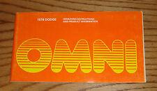 Original 1978 Dodge Omni Owners Operators Manual 78