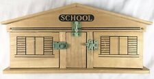 Vintage Wood School House with Blocks Latches Japan Nichigan Toy Play set