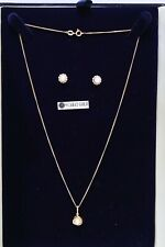 Beaverbrooks 9k collar de oro chaingold Perla Colgante y Pendientes en Caja - 232