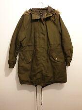 B. YOU Size 18 Green Parka Coat Jacket Fur Lined