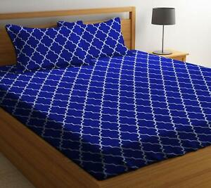 Cotton Bedsheet With 2 Pillow Covers For Double Bed-Multicolor,Free ShpWorldwide