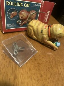 Schylling Wind-Up Rolling Cat, Rolls Along & Rolls Over MINT Condition