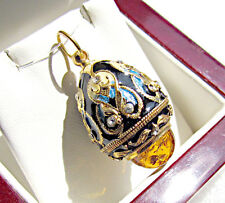 ONE OF A KIND SOLID STERLING SILVER 925 & 24K GOLD ENAMEL EGG PENDANT WITH AMBER
